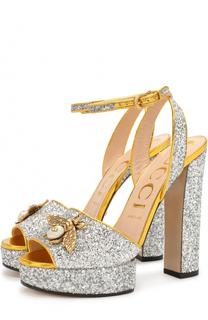 Босоножки Soko с глиттером на устойчивом каблуке Gucci