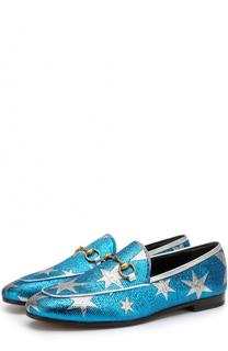 Текстильные лоферы New Jordaan с пряжкой-трензелем Gucci