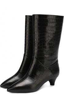 Кожаные сапоги с тиснением на устойчивом каблуке Marni