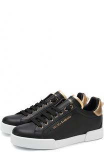 Кожаные кеды Portofino с декоративной отделкой Dolce & Gabbana