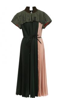 Плиссированное платье-миди с поясом Sacai