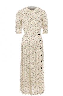 Приталенное шелковое платье-миди с принтом Alessandra Rich