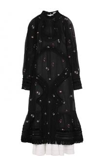 Приталенное платье-миди с объемными рукавами Erdem