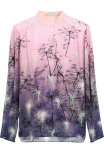 Шелковая блуза с воротником-стойкой и принтом Mary Katrantzou