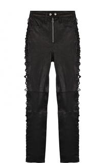 Укороченные кожаные брюки-скинни со шнуровкой Rag&Bone Rag&Bone