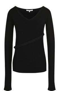 Однотонный шерстяной пуловер с V-образным вырезом Helmut Lang