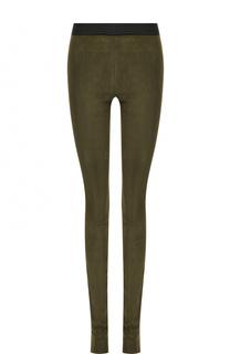 Замшевые брюки-скинни с контрастным поясом DROMe