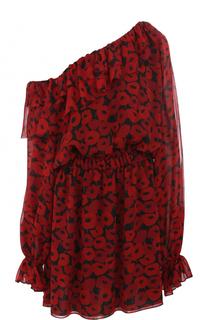 Приталенное шелковое мини-платье с открытым плечом Saint Laurent