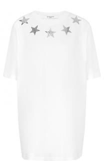 Удлиненная хлопковая футболка прямого кроя Givenchy