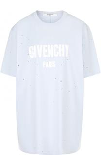 Хлопковая футболка свободного кроя с логотипом бренда Givenchy