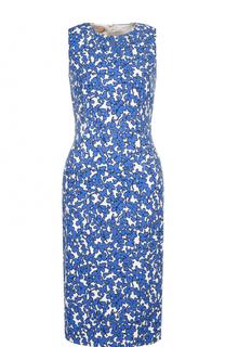 Приталенное платье-миди с принтом и круглым вырезом Michael Kors