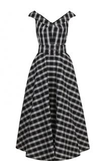 Приталенное хлопковое платье-миди с поясом Michael Kors