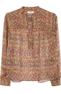 Шелковая блуза свободного кроя с воротником-стойкой Isabel Marant Etoile