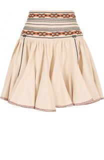Хлопковая мини-юбка с контрастной вышивкой Isabel Marant Etoile