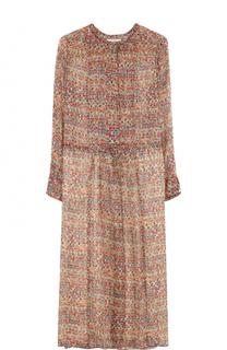 Шелковое платье-миди с длинным рукавом и круглым вырезом Isabel Marant Etoile