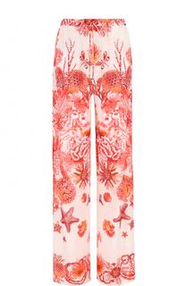 Шелковые брюки прямого кроя с принтом Roberto Cavalli
