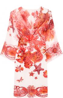 Приталенное мини-платье с принтом Roberto Cavalli