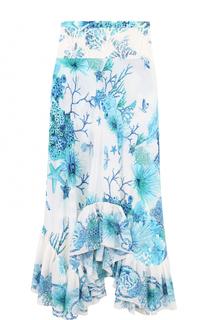 Шелковая юбка-макси с оборками и принтом Roberto Cavalli