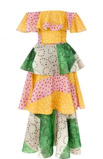 Шелковое многоярусное платье-миди с открытыми плечами Tata Naka