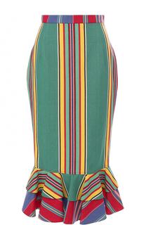 Хлопковая юбка-карандаш с оборками Tata Naka