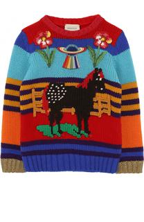 Шерстяной свитер с аппликациями Gucci