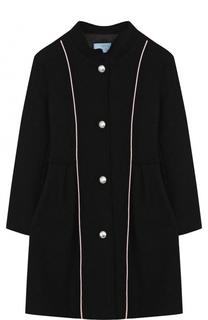 Шерстяное пальто с воротником-стойкой и контрастной отделкой Lanvin