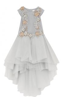 Платье-макси ассиметричного кроя с декором Mischka Aoki