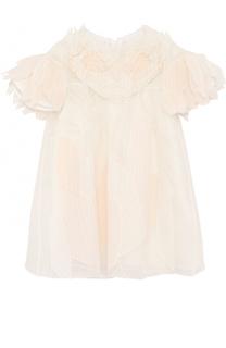 Шелковое платье свободного кроя с фактурной отделкой Givenchy