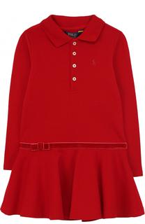 Хлопковое мини-платье с бархатной отделкой и оборкой Polo Ralph Lauren