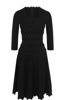 Приталенное мини-платье с укороченным рукавом Alaia