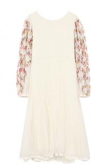 Шелковое платье свободного кроя с отделкой на рукавах Chloé