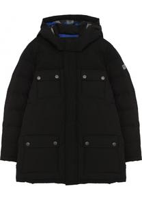 Пуховая куртка с текстильной отделкой и капюшоном Armani Junior