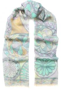 Кашемировый шарф с принтом и необработанным краем Emilio Pucci