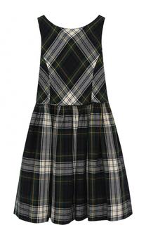 Хлопковое платье с принтом без рукавов Polo Ralph Lauren