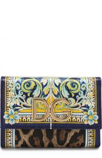 Кожаный кошелек с принтом и логотипом бренда Dolce & Gabbana