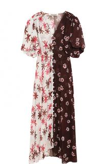 Приталенное шелковое платье-миди с принтом Tata Naka