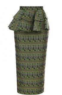 Жаккардовая юбка-карандаш с оборками Tata Naka