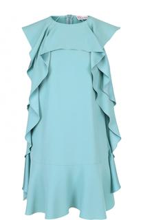 Однотонное мини-платье свободного кроя с оборками REDVALENTINO
