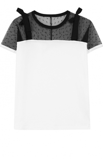 Хлопковая футболка с кружевной вставкой и бантами REDVALENTINO