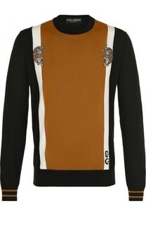 Шерстяной джемпер с аппликацией Dolce & Gabbana