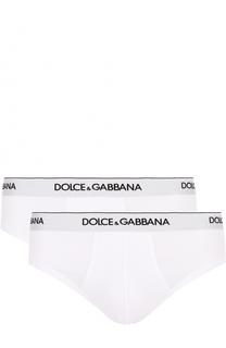 Комплект из двух хлопковых брифов с широкой резинкой Dolce & Gabbana