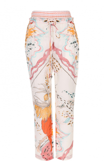 Шелковые укороченные брюки с принтом Roberto Cavalli