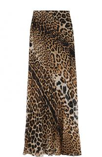 Шелковая юбка-макси с леопардовым принтом Saint Laurent