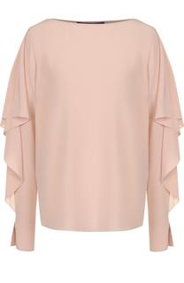 Шелковая блуза с вырезом-лодочка и разрезами на рукавах Ralph Lauren