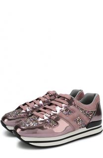 Комбинированные кроссовки с глиттером на шнуровке Hogan