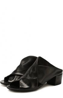 Кожаные мюли на устойчивом каблуке Marsell