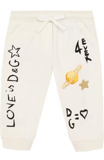 Хлопковые джоггеры с принтом и аппликациями Dolce & Gabbana