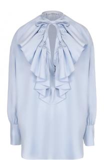 Шелковая блуза свободного кроя с оборками Tome