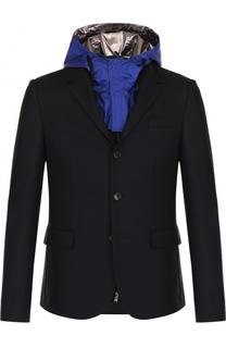 Однобортный шерстяной пиджак с подстежкой и капюшоном Valentino