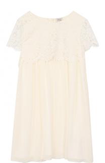 Платье свободного кроя с кружевной отделкой Armani Junior